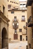 Streets and corners of the medieval village of Valderrobres, Man royalty free stock image