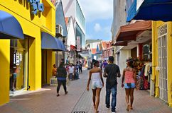 Streets of Curacao. Colorful streets of Willemstad, Curacao stock photo