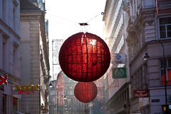 Streets are decorated with red Royalty Free Stock Images