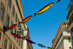 Streets decorated with sardines during Lisbon Festival Stock Photography
