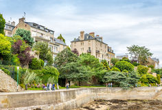 In the streets of Dinard. DINARD, FRANCE - AUGUST 24,2014 - In the streets of Dinard. Its beaches and mild climate make it a popular holiday destination Royalty Free Stock Photo