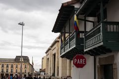 Historic building in Candelaria, Bogotá, Colombia royalty free stock photo