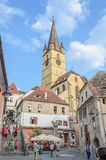 Streets of the downtown city with restaurants and old buildings, Transylvania Royalty Free Stock Photo