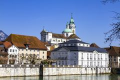Streets and embankment of the Swiss city of Solothurn. The streets and mountains of the Swiss city of Solothurn on a beautiful spring day stock photography