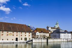 Streets and embankment of the Swiss city of Solothurn. The streets and mountains of the Swiss city of Solothurn on a beautiful spring day royalty free stock images