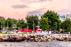 Seaside Streets Of Cinarcik Town In Summer Sunset - Turkey Stock Images