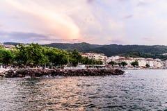 Seaside Streets Of Cinarcik Town In Summer Sunset - Turkey Stock Image