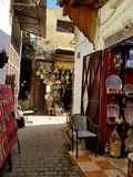 Streets of Fez or Fes Medina - souks stock images