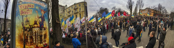 The streets are filled with people of Kiev and Kiev newcomers. Kyiv, Ukraine, December 1, 2013: A peaceful demonstration to protest against the Party of Regions Royalty Free Stock Images