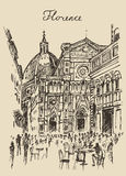 Streets Florence Italy Trevi Fountain Hand Drawn. Streets in Florence Italy Trevi Fountain hand drawn vector illustration sketch engraved style Stock Images