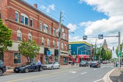 In the streets of Fredericton in Canada. FREDERICTON, CANADA - JUNE 20,2018 - In the streets of Fredericton. Fredericton is the capital of the Canadian province stock photos