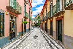 The streets of Funchal Madeira royalty free stock photos
