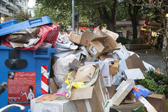 Streets  with garbage Royalty Free Stock Photography