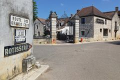 Streets of Gevrey-Chambertin village. GEVREY-CHAMBERTIN, FRANCE, May 21, 2018 : A touristy and winemaking village, Gevrey-Chambertin, on the Route des Grands stock image