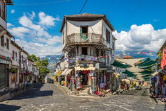 In the streets of Gjirokaster. GJIROKASTER,ALBANIA - JULY 31,2014 - In the streets of  Gjirokaster. Gjirokaster is situated in a valley between the Gjere Royalty Free Stock Images