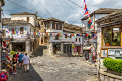 In the streets of Gjirokaster. GJIROKASTER,ALBANIA - JULY 31,2014 - In the streets of  Gjirokaster. Gjirokaster is situated in a valley between the Gjere Stock Photo
