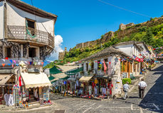In the streets of Gjirokaster. GJIROKASTER,ALBANIA - JULY 31,2014 - In the streets of  Gjirokaster. Gjirokaster is situated in a valley between the Gjere Stock Photography