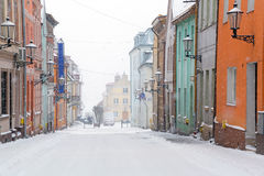 Streets of Gniew town in winter scenery. Poland Royalty Free Stock Photos