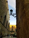 Streets of Gothic Quarters Barcelona royalty free stock photos