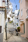 Streets of Skiathos island in Greece, houses. One of the streets on the Skiathos Island, Greece stock photo