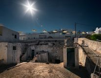 Streets of the Greek island of Santorini. Greece. Old streets of ancient cities of the Greek white city of Santorini royalty free stock image