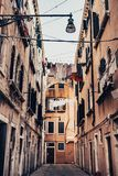 Streets with a hanging laundry. royalty free stock photos