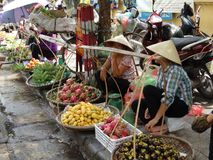 Streets of Hanoi`s Old Quarter. Busy time on the streets of the Old Quarter in Hanoi, Vietnam stock photo