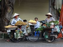 Streets of Hanoi`s Old Quarter. Busy time on the streets of the Old Quarter in Hanoi, Vietnam royalty free stock photo