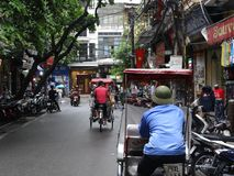 Streets of Hanoi`s Old Quarter. Busy time on the streets of the Old Quarter in Hanoi, Vietnam royalty free stock image