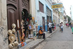 The streets of Havana. Very characteristic, with their colors stock image