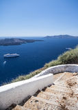 Streets hills to the coast  of Santorini Stock Images