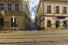 The streets in the historic center of New Town of the Prague. Stock Image