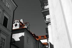 Look upwards. Through the streets of the historic center of Prague royalty free stock image
