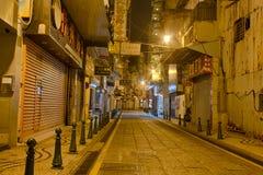 Streets of historic Macau at night Stock Photos