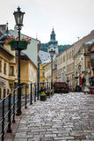 Streets of the historic town of Banska Stiavnica, Slovakia Royalty Free Stock Photo