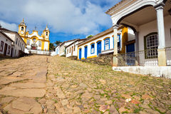 Streets of the historical town Tiradentes Brazil Royalty Free Stock Photos
