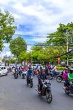 Streets of Ho Chi Minh City. Motorcycles dominating busy streets of Ho Chi Minh City, Vietnam Stock Images