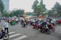 Ho Chi Minh City Streets in Vietnam full of motorcycles. royalty free stock images