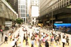 Streets of Hong Kong City. Defocus Crosswalk. Sunset. Royalty Free Stock Photos