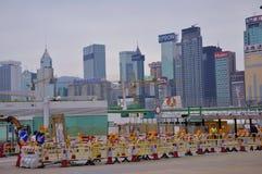 The streets of Hong Kong. Hong Kong street maintenance set up roadblocks Royalty Free Stock Photography