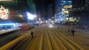 Streets of Hong Kong. View of the street of Hong Kong from a tram in motion  at night. Traveling from Central toward North Point stock video