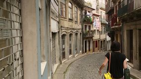 Streets and houses in the historic Old Porto, Portugal. Travel. stock footage