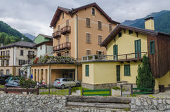 Streets and houses in the mountain town of Alpine Italian Ponte di Legno region Lombaridya Brescia, northern Italy Royalty Free Stock Photography
