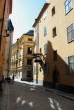 Streets and houses of sunny summer Stockholm`s Old Town Gamla Stan in Stockholm, Sweden royalty free stock photo