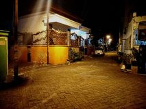 The streets in Indonesia at night stock photography