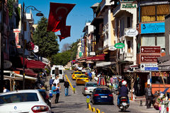 Streets of Istanbul with people, cars and hotel signs Royalty Free Stock Photography
