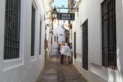 The streets of the Jewish quarter of Juderia in Cordoba stock images