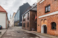 Streets of Kaunas old town Stock Photos