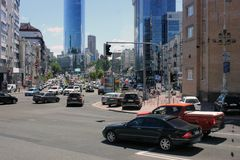 August 25, 2010. Ukraine - Kiev. Streets of Kiev. Cars stand at the traffic lights royalty free stock image