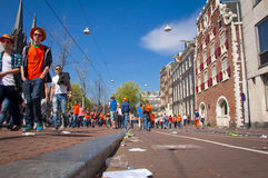 Streets on King's day Royalty Free Stock Image